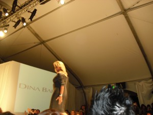 Designer Dina Bar-el on the catwalk at LA Fashion Weekend