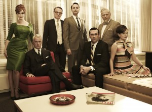 L-R) Joan Harris (Christina Hendricks), Roger Sterling (John Slattery), Lane Pryce (Jared Harris), Pete Campbell (Vincent Kartheiser), Don Draper (Jon  Hamm-Photo Credit: Frank Ockenfels/AMC